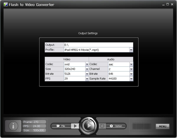 Click to view Flash to Video Converter 1.30 screenshot